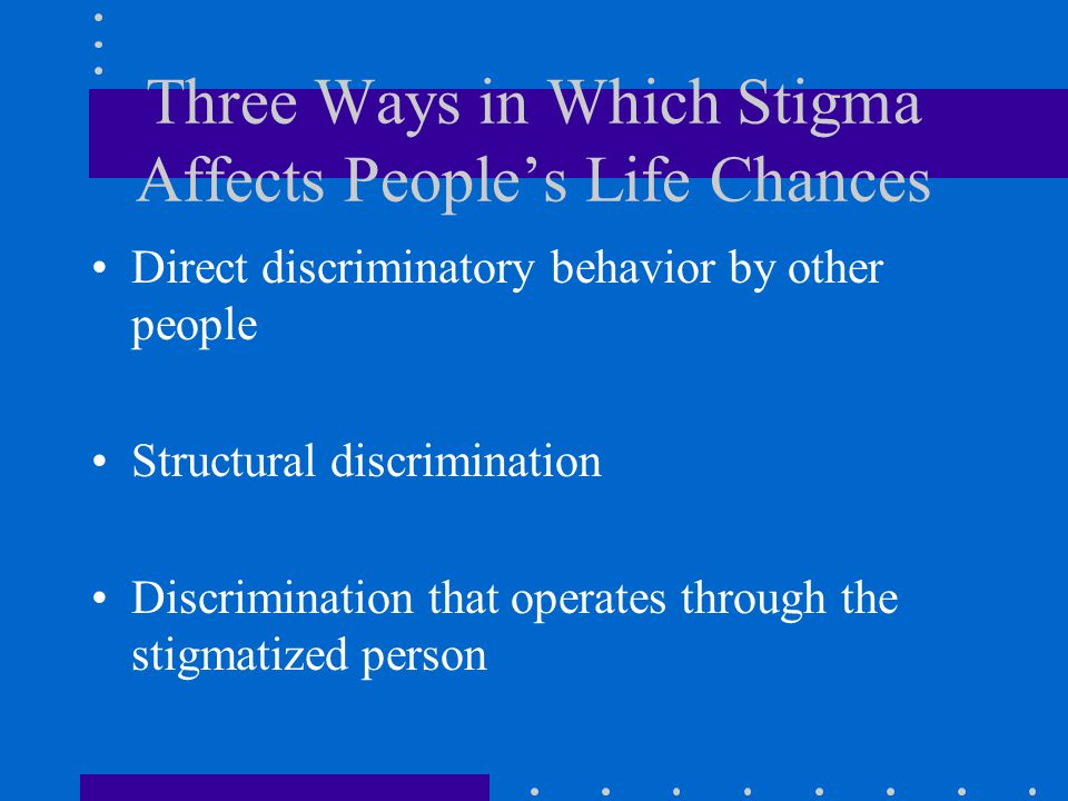 Three Ways in Which Stigma Affects People's Life Chances Direct discriminatory behavior by other people Structural discrimination Discrimination that
