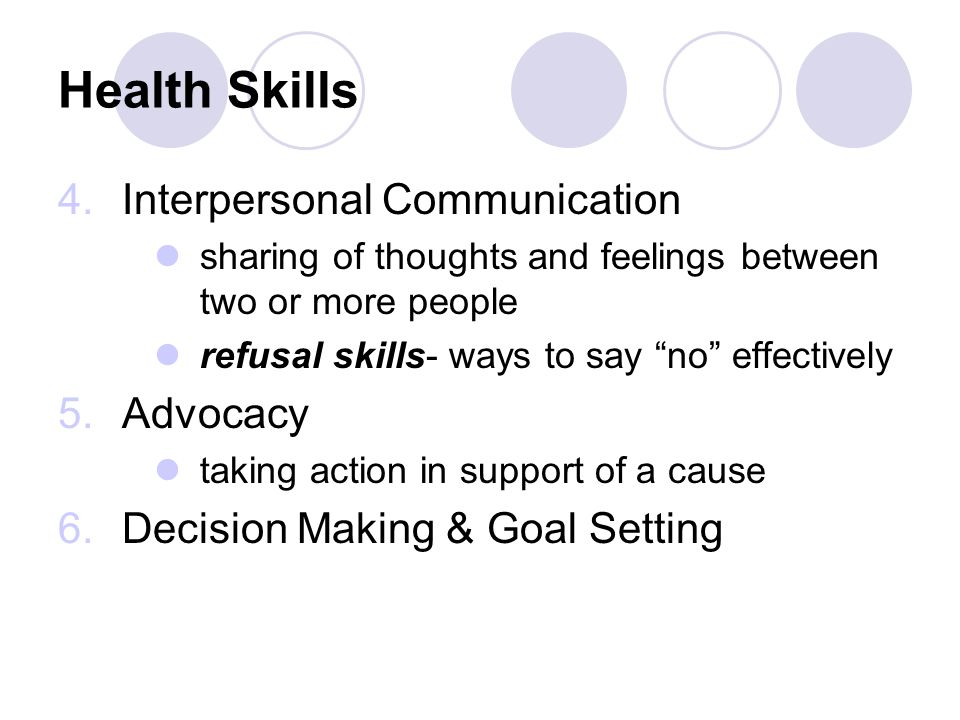 Health Skills 4.Interpersonal Communication sharing of thoughts and feelings between two or more people refusal skills- ways to say no effectively 5.Advocacy taking action in support of a cause 6.Decision Making & Goal Setting