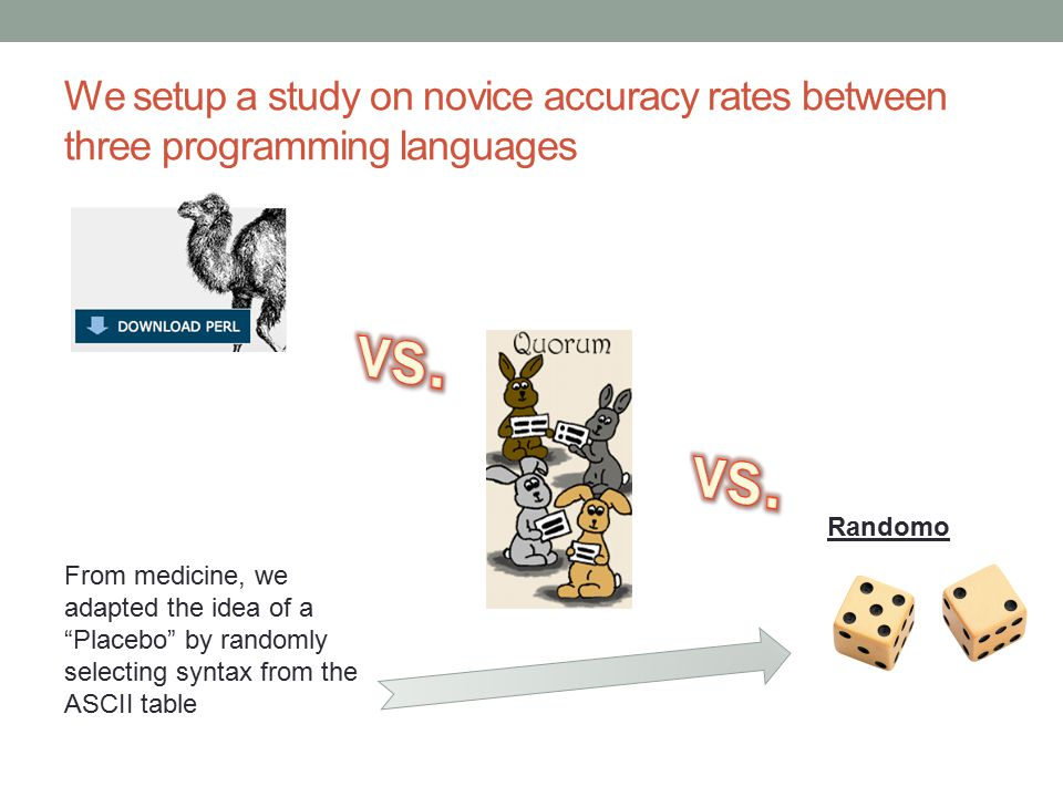 We setup a study on novice accuracy rates between three programming languages Randomo From medicine, we adapted the idea of a Placebo by randomly selecting syntax from the ASCII table