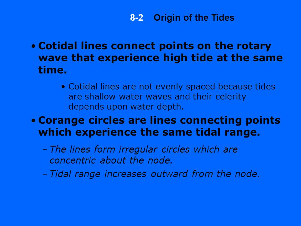 Cotidal lines connect points on the rotary wave that experience high tide at the same time.