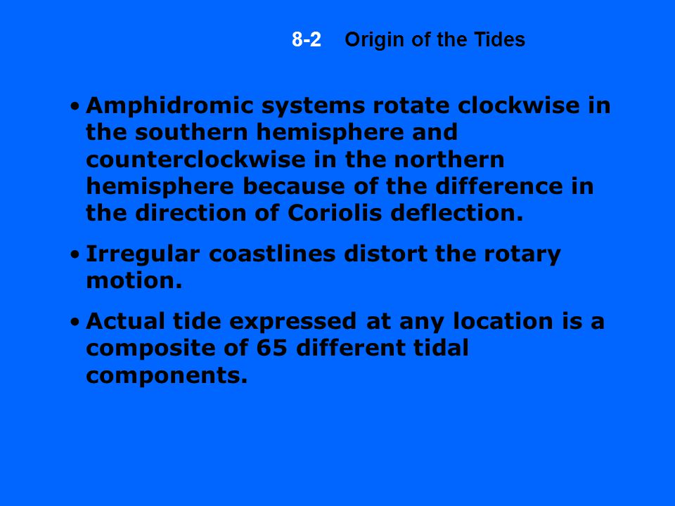 Amphidromic systems rotate clockwise in the southern hemisphere and counterclockwise in the northern hemisphere because of the difference in the direction of Coriolis deflection.