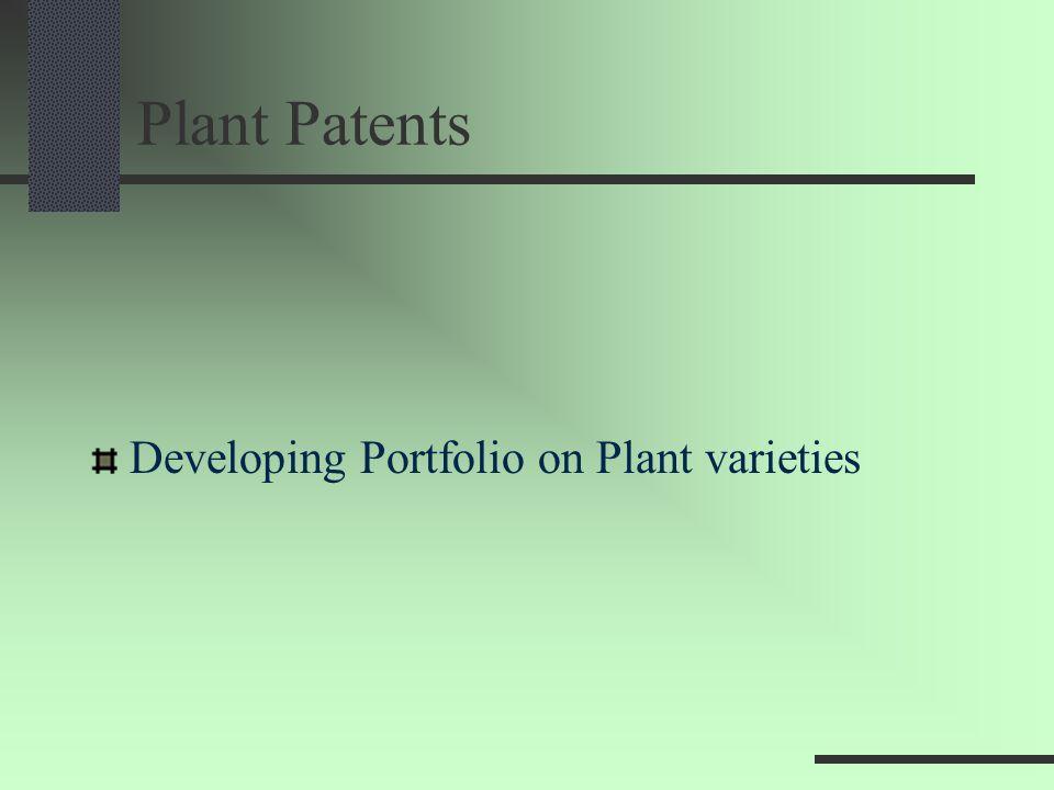 Plant Patents Developing Portfolio on Plant varieties