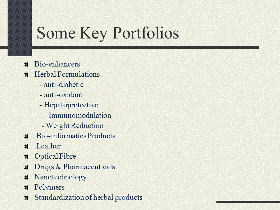 Some Key Portfolios Bio-enhancers Herbal Formulations - anti-diabetic - anti-oxidant - Hepatoprotective - Immunomodulation - Weight Reduction Bio-informatics Products Leather Optical Fibre Drugs & Pharmaceuticals Nanotechnology Polymers Standardization of herbal products