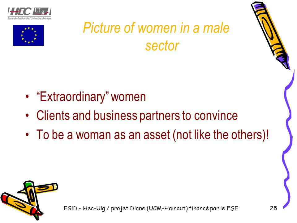 Picture of women in a male sector Extraordinary women Clients and business partners to convince To be a woman as an asset (not like the others).