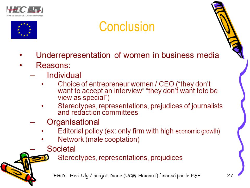 EGiD - Hec-Ulg / projet Diane (UCM-Hainaut) financé par le FSE27 Conclusion Underrepresentation of women in business media Reasons: –Individual Choice of entrepreneur women / CEO ( they don't want to accept an interview they don't want toto be view as special ) Stereotypes, representations, prejudices of journalists and redaction committees –Organisational Editorial policy (ex: only firm with high economic growth) Network (male cooptation) –Societal Stereotypes, representations, prejudices