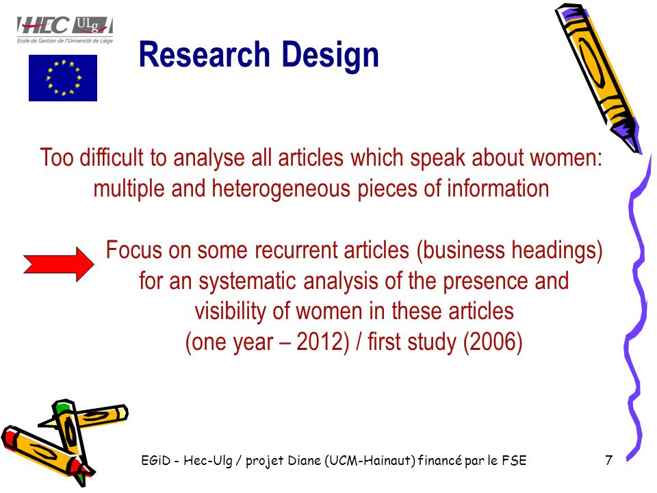 EGiD - Hec-Ulg / projet Diane (UCM-Hainaut) financé par le FSE7 Too difficult to analyse all articles which speak about women: multiple and heterogeneous pieces of information Focus on some recurrent articles (business headings) for an systematic analysis of the presence and visibility of women in these articles (one year – 2012) / first study (2006) Research Design
