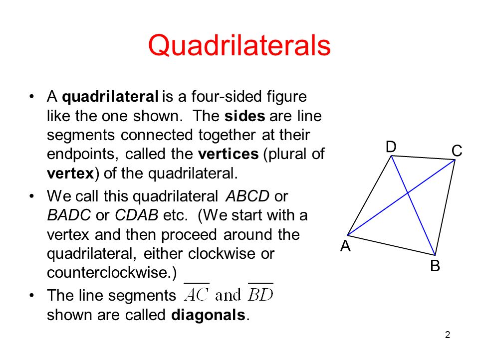 2 Quadrilaterals A quadrilateral is a four-sided figure like the one shown. The sides are line segments connected together at their endpoints, called