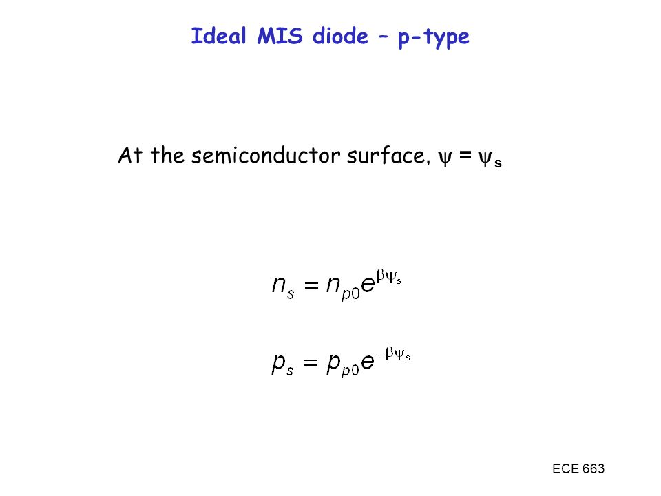 ECE 663 Ideal MIS diode – p-type At the semiconductor surface,  =  s