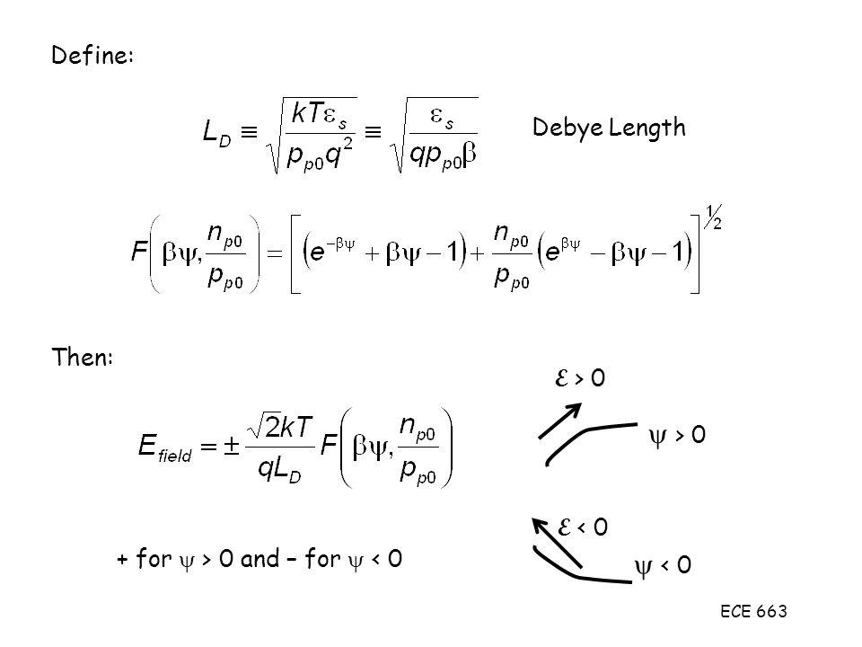 ECE 663 Define: Debye Length Then: + for  > 0 and – for  < 0  > 0 E > 0  < 0 E < 0