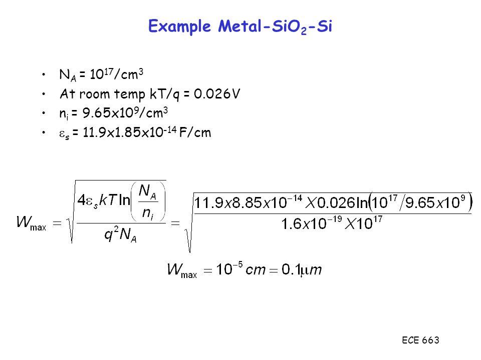 ECE 663 Example Metal-SiO 2 -Si N A = 10 17 /cm 3 At room temp kT/q = 0.026V n i = 9.65x10 9 /cm 3  s = 11.9x1.85x10 -14 F/cm