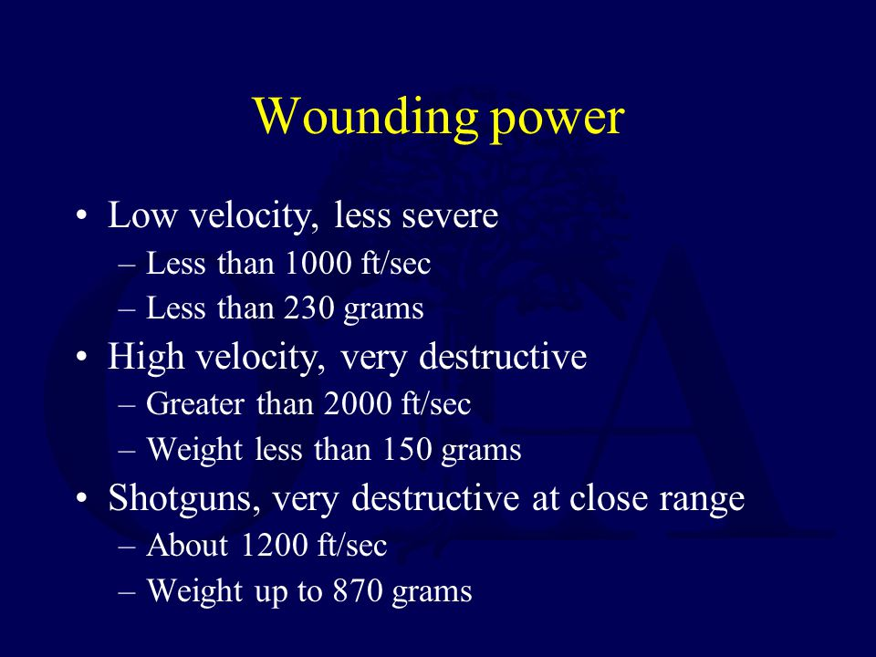 Factors that cause tissue damage Crush and laceration Secondary missiles Cavitation Shock wave