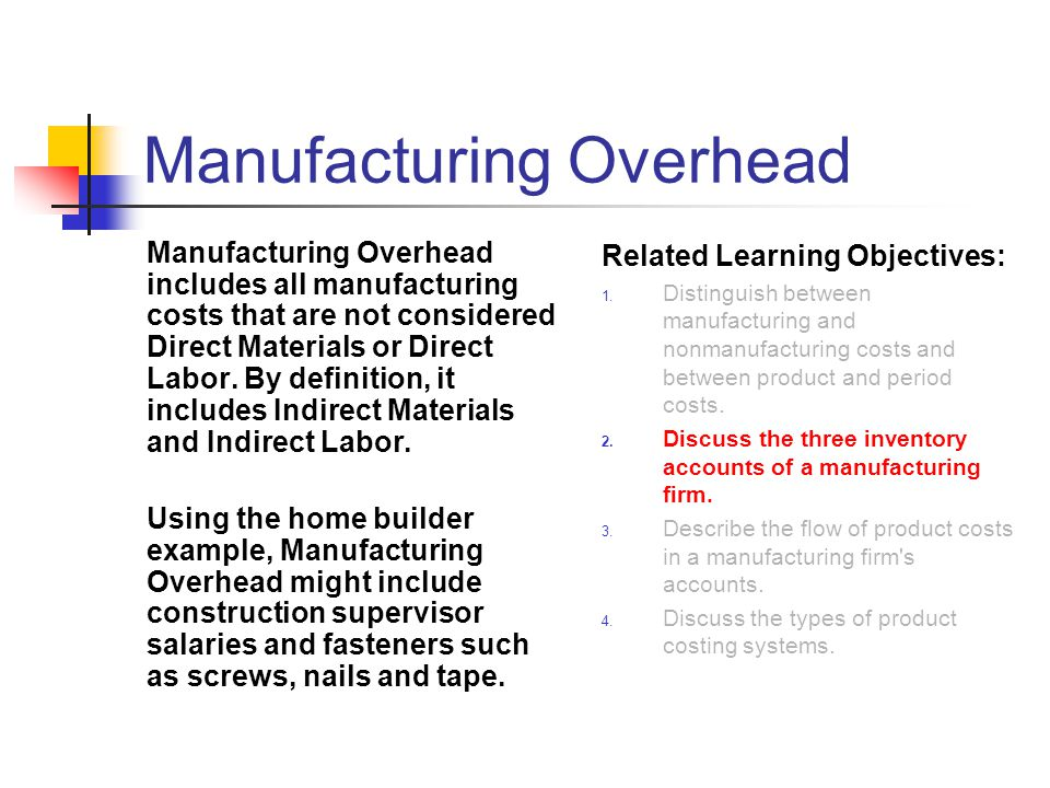 Manufacturing Overhead Manufacturing Overhead includes all manufacturing costs that are not considered Direct Materials or Direct Labor. By definition