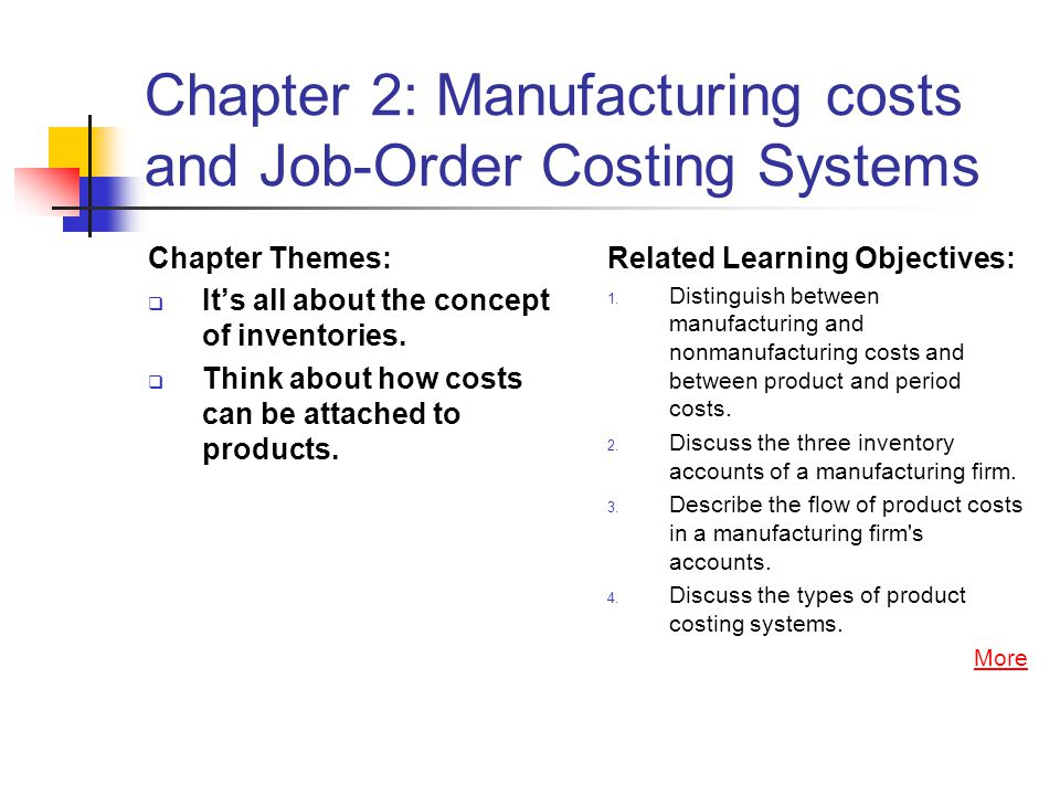 Chapter 2: Manufacturing costs and Job-Order Costing Systems Chapter Themes:  It's all about the concept of inventories.  Think about how costs can