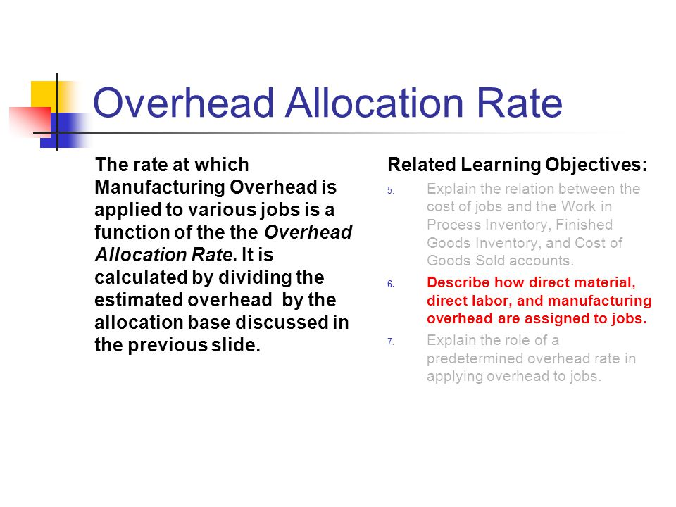 Overhead Allocation Rate The rate at which Manufacturing Overhead is applied to various jobs is a function of the the Overhead Allocation Rate. It is