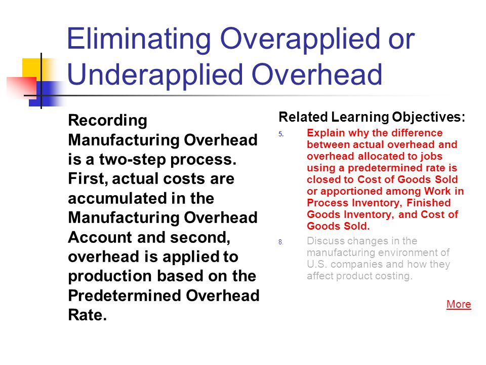 Eliminating Overapplied or Underapplied Overhead Recording Manufacturing Overhead is a two-step process. First, actual costs are accumulated in the Ma