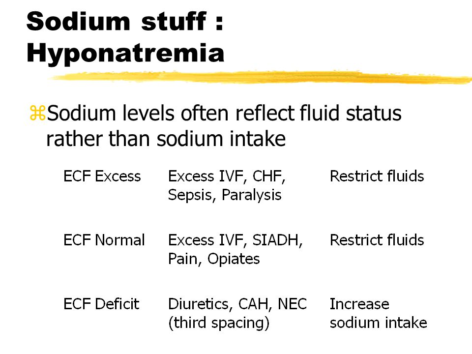 Sodium stuff : Hyponatremia zSodium levels often reflect fluid status rather than sodium intake