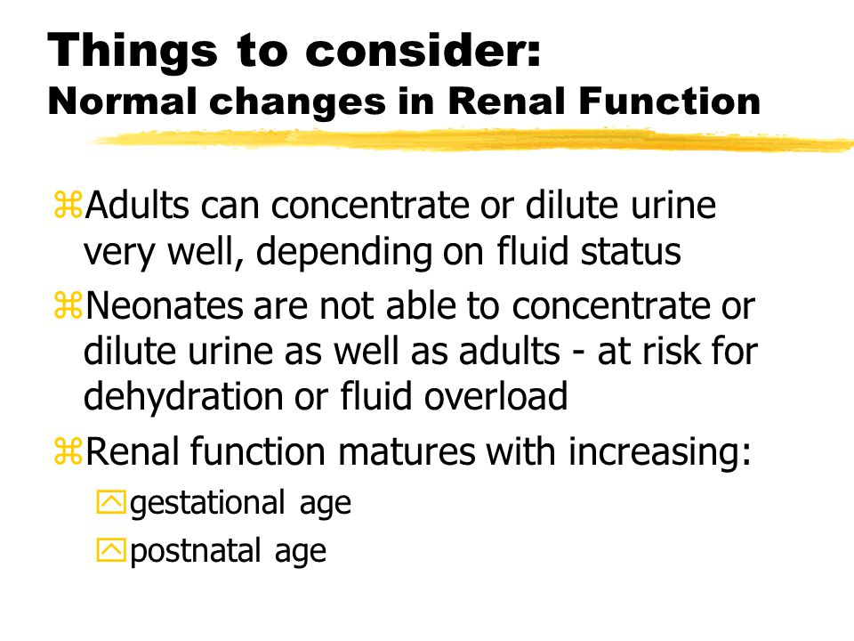 Things to consider: Normal changes in Renal Function zAdults can concentrate or dilute urine very well, depending on fluid status zNeonates are not able to concentrate or dilute urine as well as adults - at risk for dehydration or fluid overload zRenal function matures with increasing: ygestational age ypostnatal age