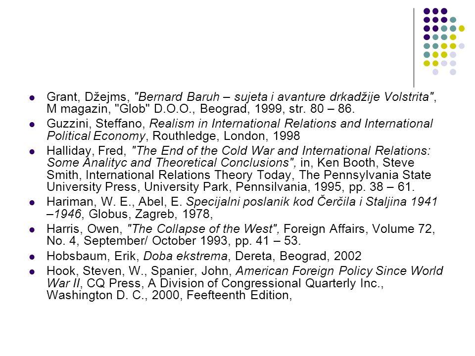 Grant, Džejms, Bernard Baruh – sujeta i avanture drkadžije Volstrita , M magazin, Glob D.O.O., Beograd, 1999, str.