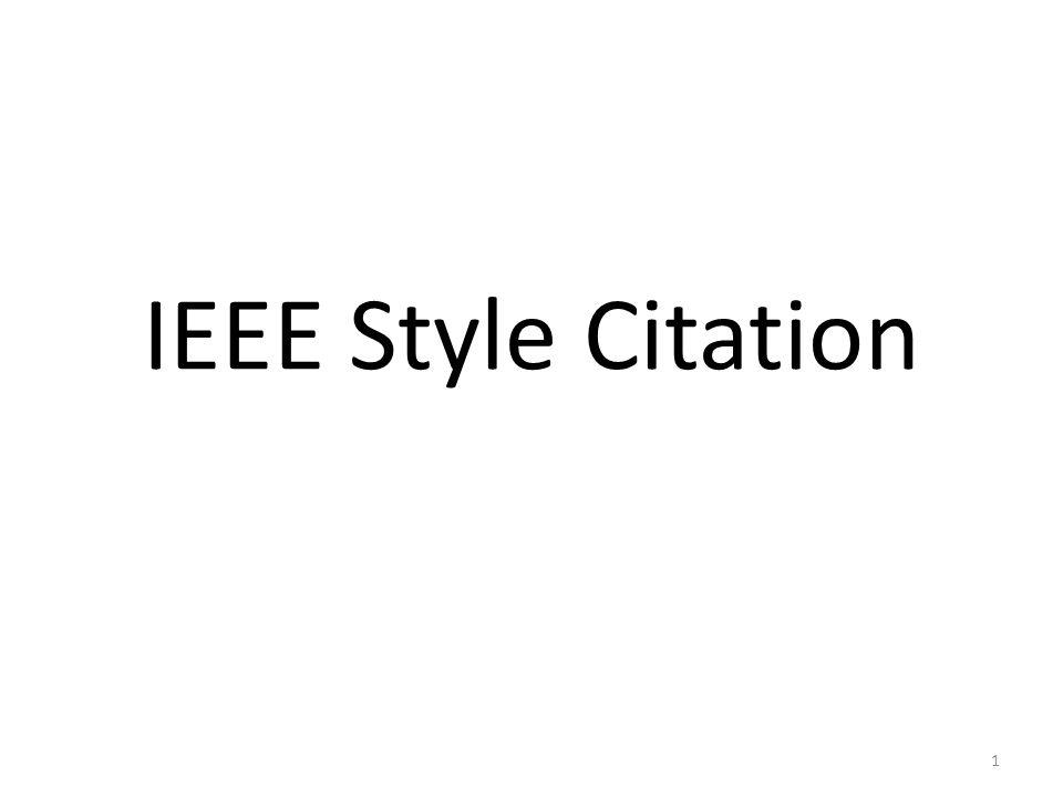 IEEE Style Citation 1