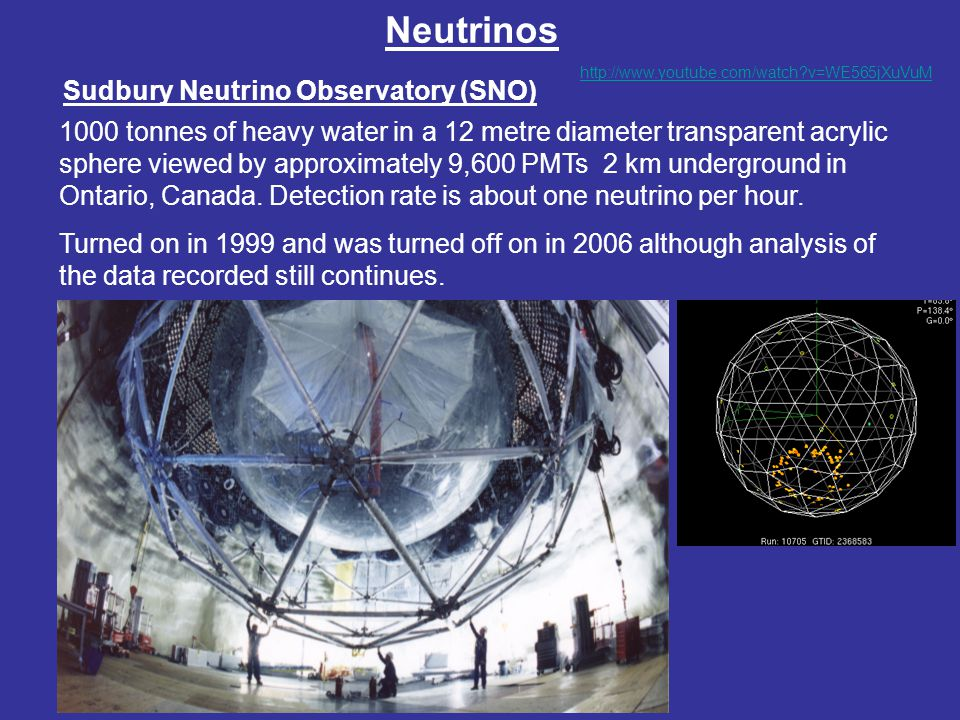 Neutrinos Sudbury Neutrino Observatory (SNO) 1000 tonnes of heavy water in a 12 metre diameter transparent acrylic sphere viewed by approximately 9,60
