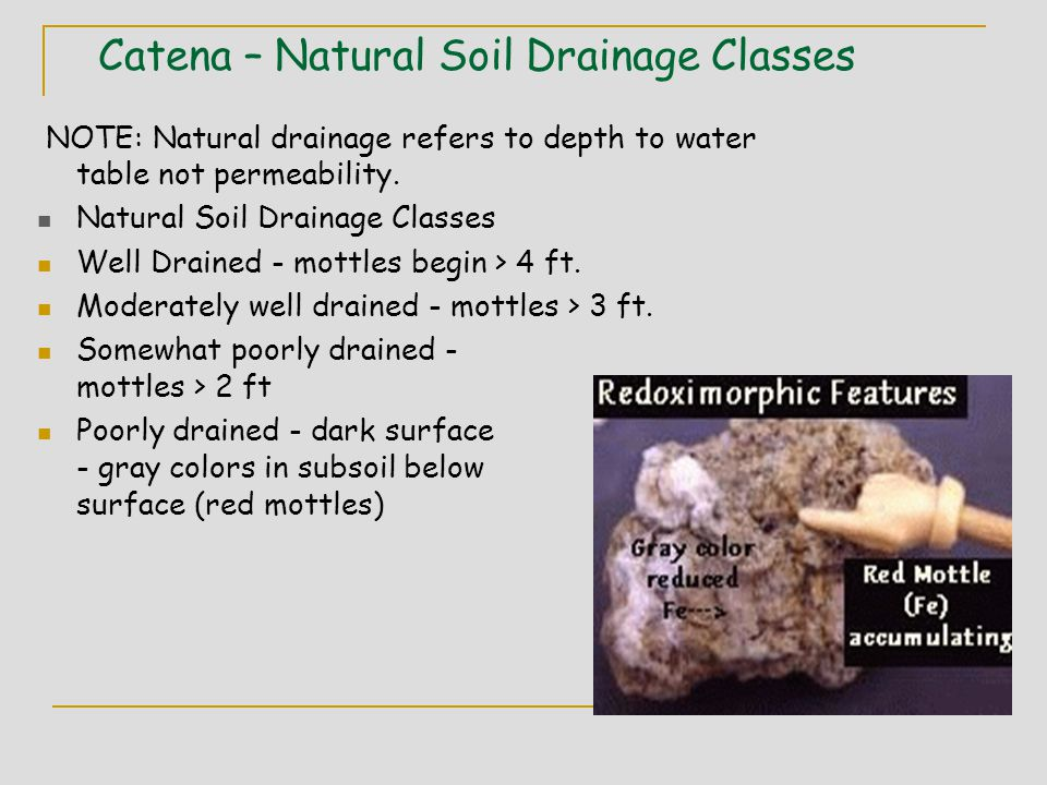 Catena – Natural Soil Drainage Classes NOTE: Natural drainage refers to depth to water table not permeability.