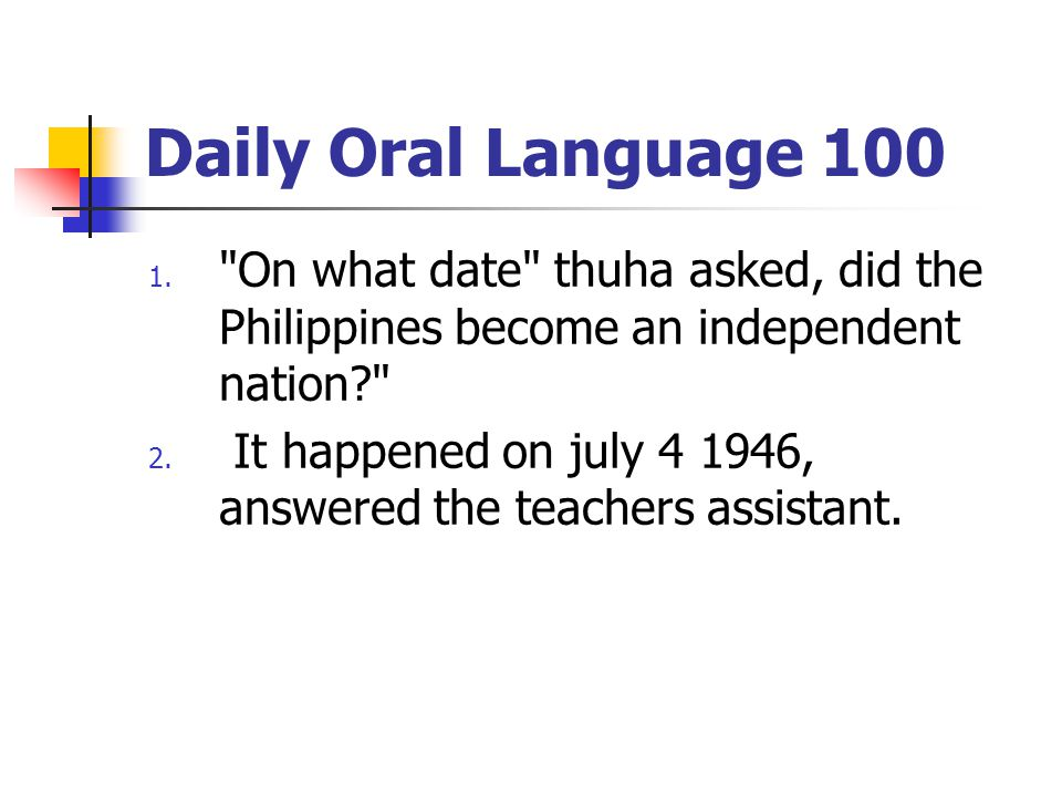 Daily Oral Language 100 1.