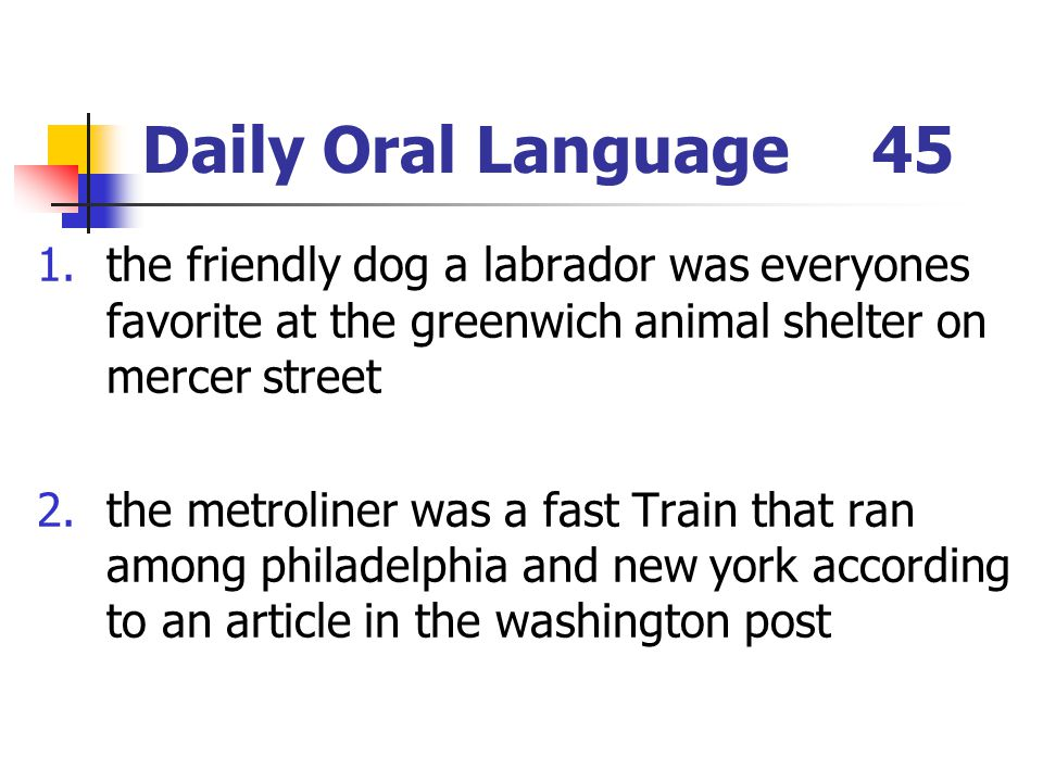 Daily Oral Language45 1.the friendly dog a labrador was everyones favorite at the greenwich animal shelter on mercer street 2.the metroliner was a fas