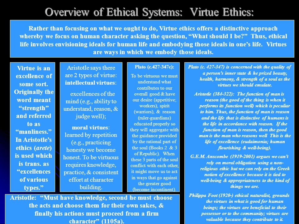 Overview of Ethical Systems: Ethical Relativism: Ethical values and beliefs are relative to the various individuals or societies that hold them; there is no objective right and wrong.