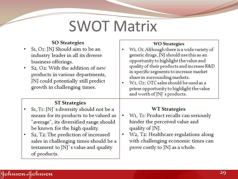 SWOT Matrix SO Strategies S1, O1: JNJ Should aim to be an industry leader in all its diverse business offerings. S2, O2: With the addition of new prod