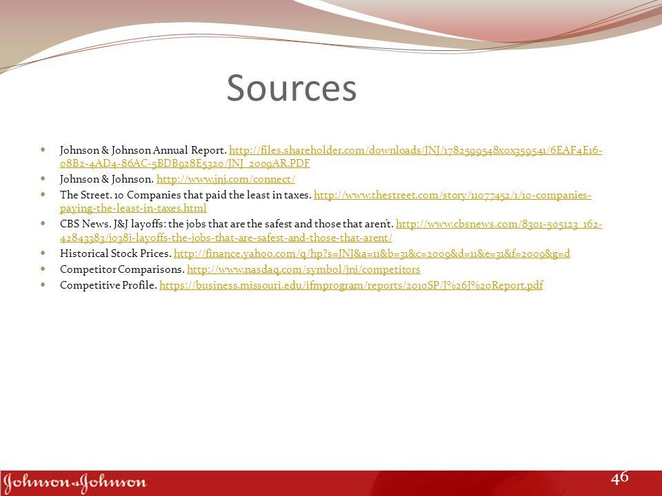 Sources Johnson & Johnson Annual Report.