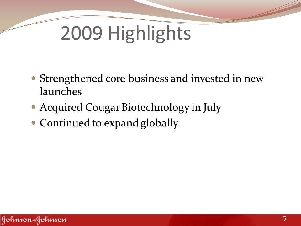 2009 Highlights Strengthened core business and invested in new launches Acquired Cougar Biotechnology in July Continued to expand globally 5