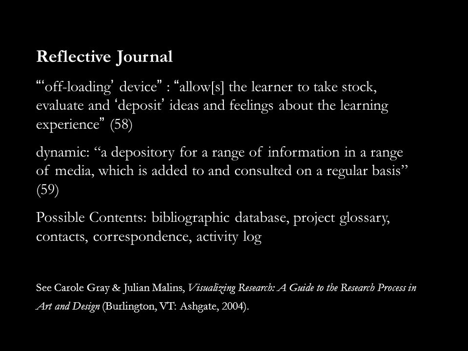 Reflective Journal ' off-loading ' device : allow[s] the learner to take stock, evaluate and ' deposit ' ideas and feelings about the learning experience (58) dynamic: a depository for a range of information in a range of media, which is added to and consulted on a regular basis (59) Possible Contents: bibliographic database, project glossary, contacts, correspondence, activity log See Carole Gray & Julian Malins, Visualizing Research: A Guide to the Research Process in Art and Design (Burlington, VT: Ashgate, 2004).