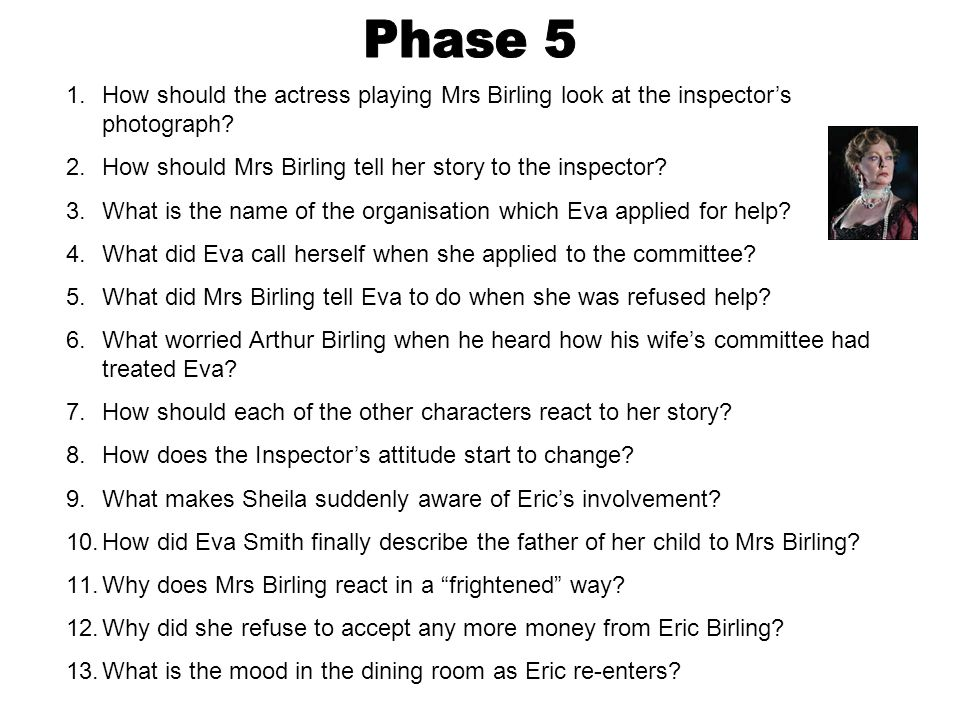 1.How should the actress playing Mrs Birling look at the inspector's photograph? 2.How should Mrs Birling tell her story to the inspector? 3.What is t