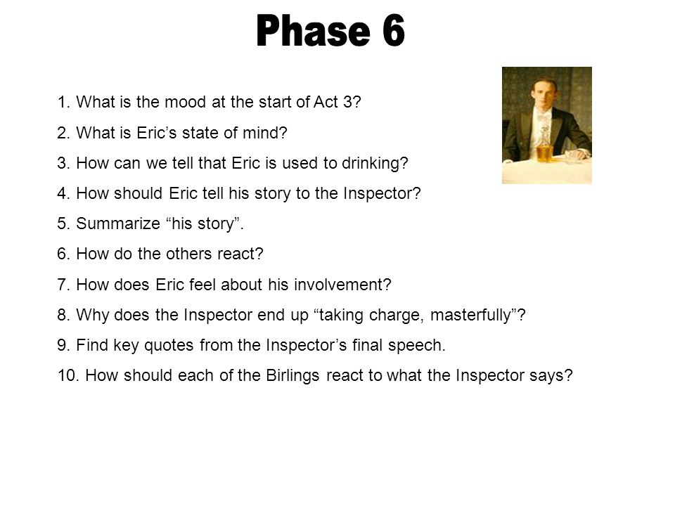 1. What is the mood at the start of Act 3? 2. What is Eric's state of mind? 3. How can we tell that Eric is used to drinking? 4. How should Eric tell