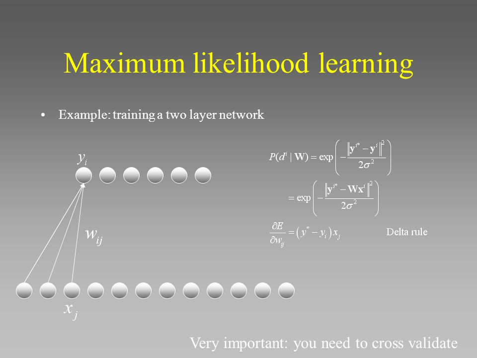 Maximum likelihood learning Example: training a two layer network Very important: you need to cross validate