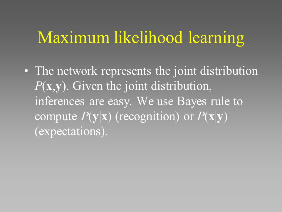 Maximum likelihood learning The network represents the joint distribution P(x,y).