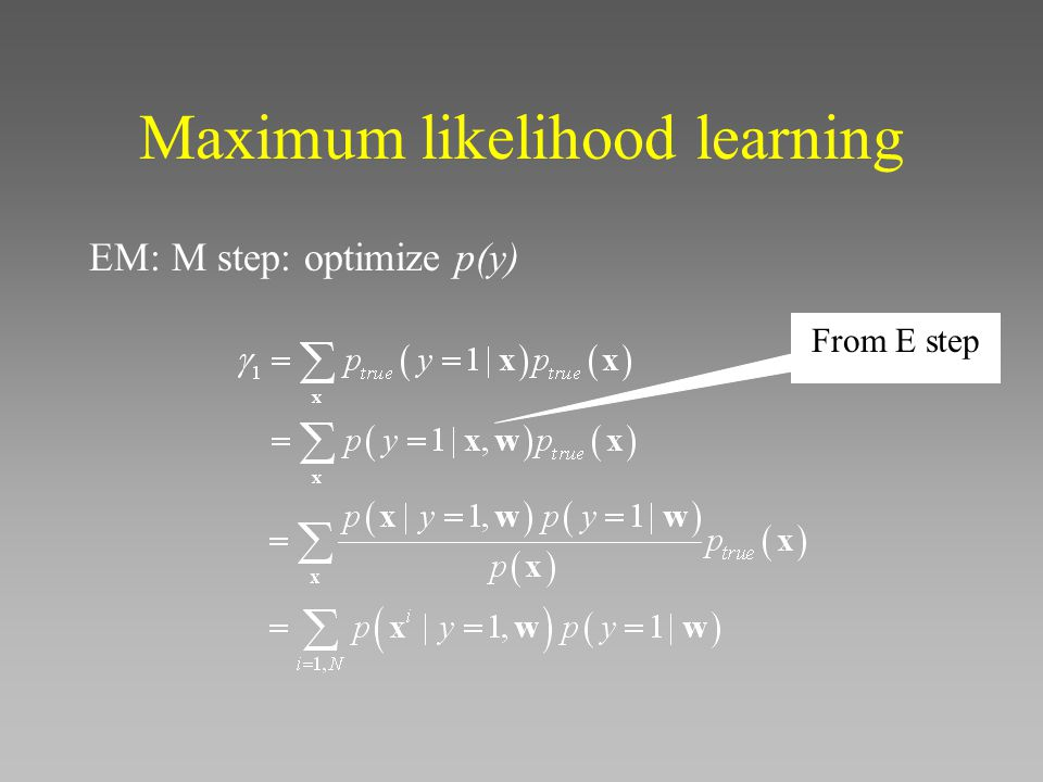 Maximum likelihood learning EM: M step: optimize p(y) From E step