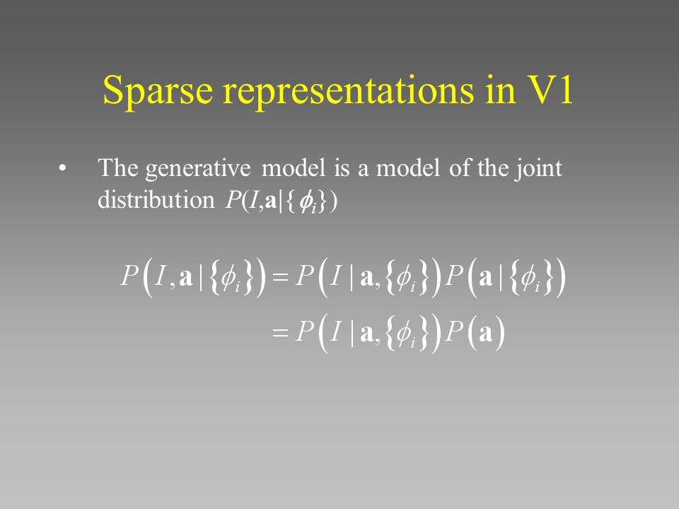 Sparse representations in V1 The generative model is a model of the joint distribution P(I,a  i 
