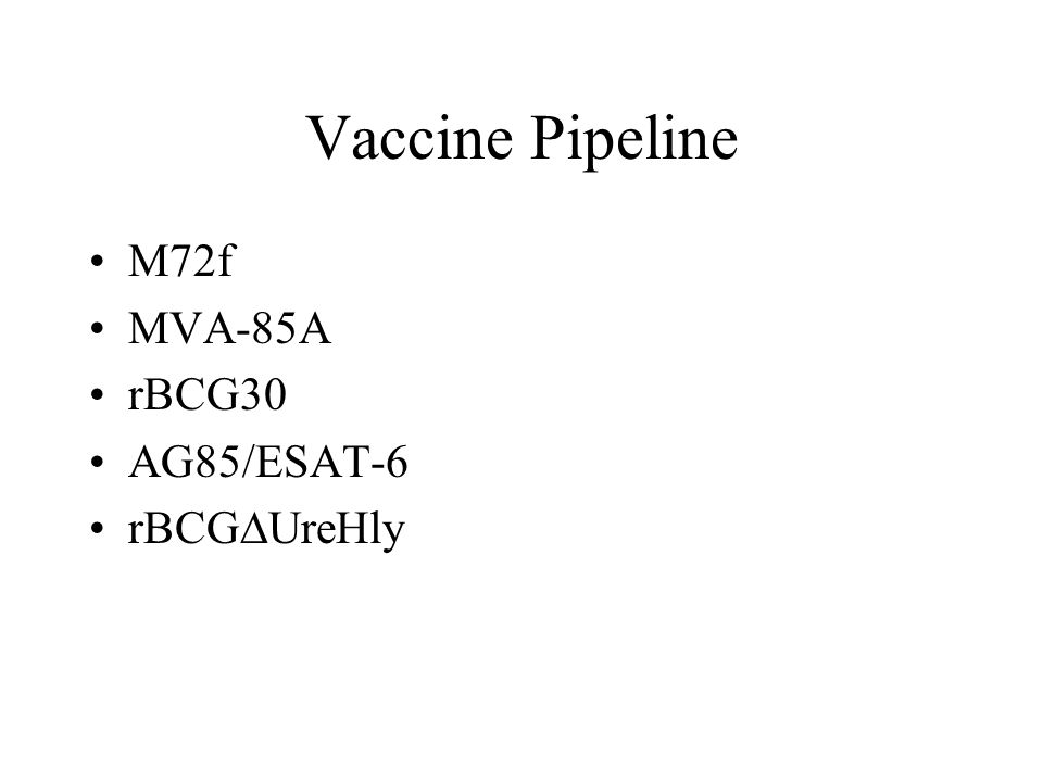 Vaccine Pipeline M72f MVA-85A rBCG30 AG85/ESAT-6 rBCG  UreHly