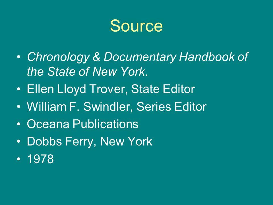 Source Chronology & Documentary Handbook of the State of New York. Ellen Lloyd Trover, State Editor William F. Swindler, Series Editor Oceana Publicat