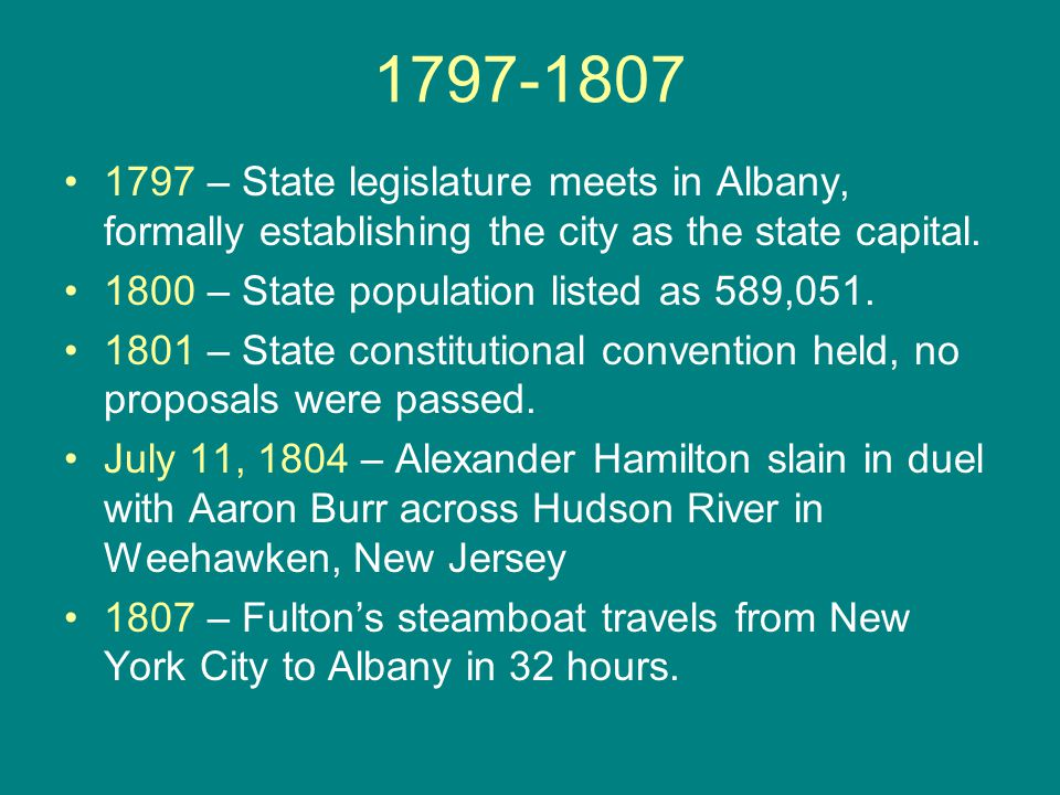 1797-1807 1797 – State legislature meets in Albany, formally establishing the city as the state capital. 1800 – State population listed as 589,051. 18