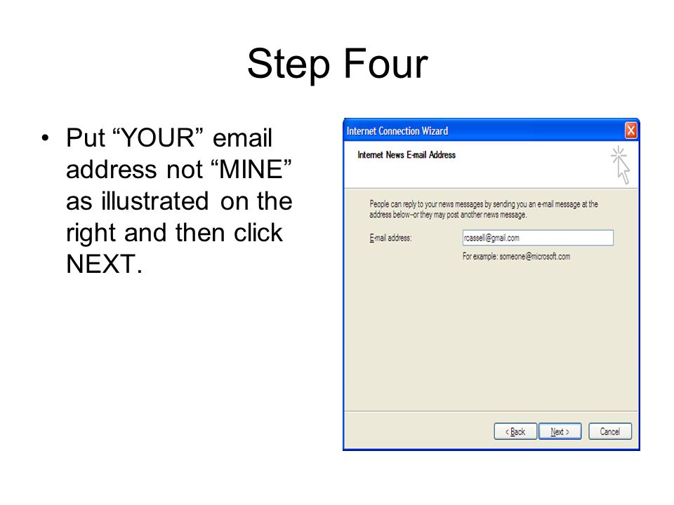 Step Four Put YOUR email address not MINE as illustrated on the right and then click NEXT.