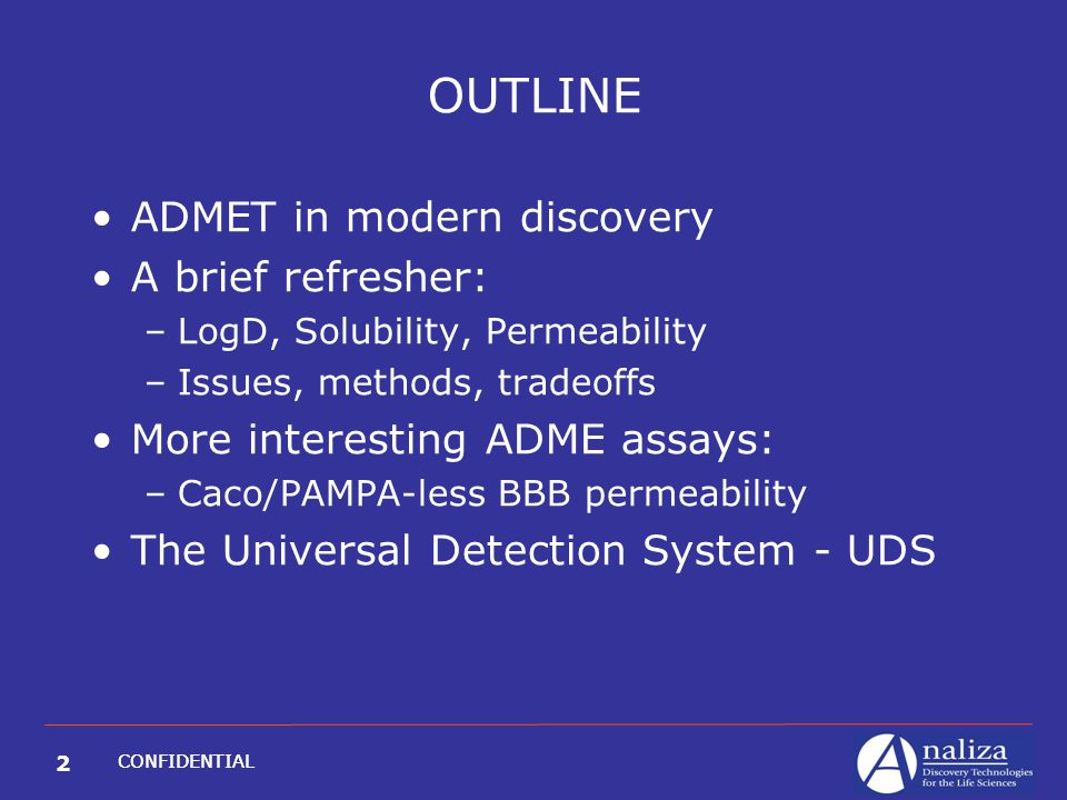 2 CONFIDENTIAL OUTLINE ADMET in modern discovery A brief refresher: –LogD, Solubility, Permeability –Issues, methods, tradeoffs More interesting ADME