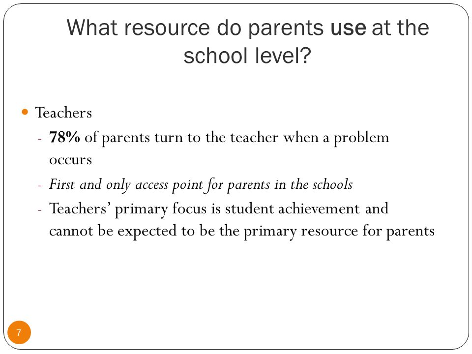 What resource do parents use at the school level.