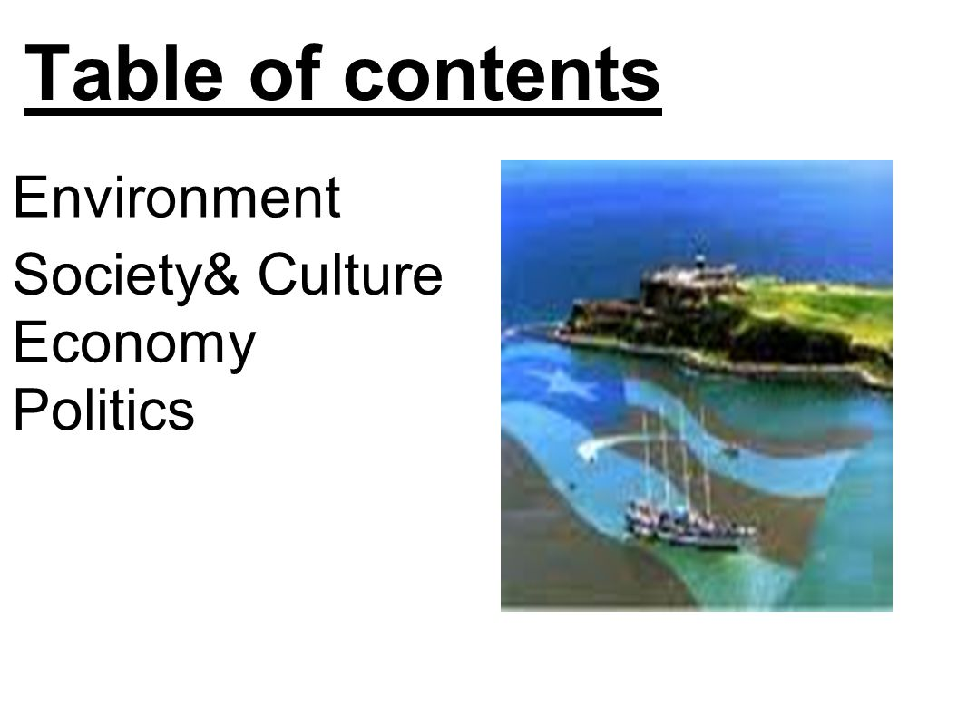 Table of contents Environment Society& Culture Economy Politics