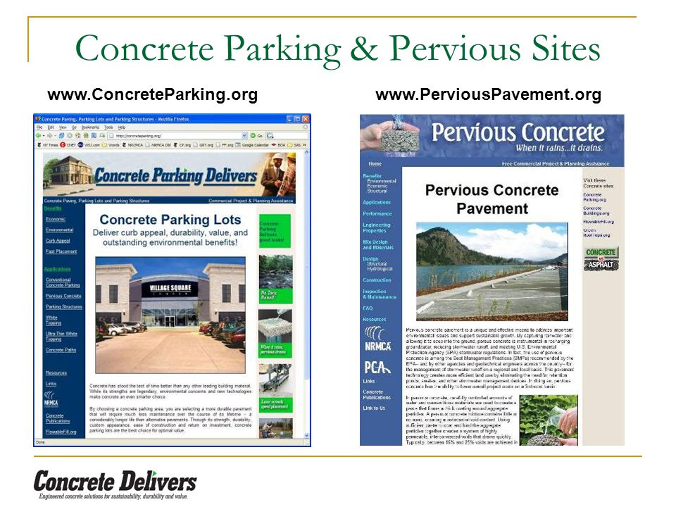 Concrete Parking & Pervious Sites www.ConcreteParking.org www.PerviousPavement.org