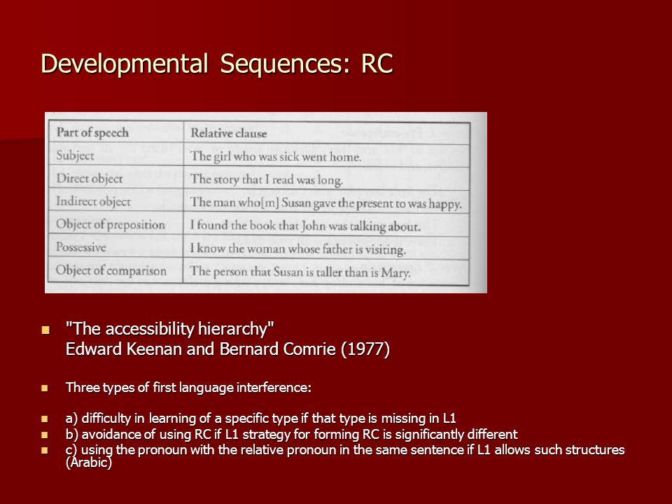 Developmental Sequences: RC