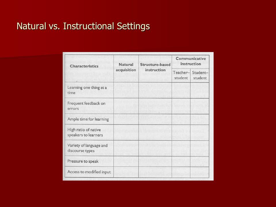 Natural vs. Instructional Settings