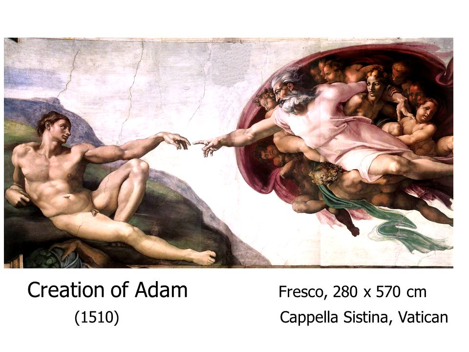 Creation of Adam Fresco, 280 x 570 cm (1510) Cappella Sistina, Vatican