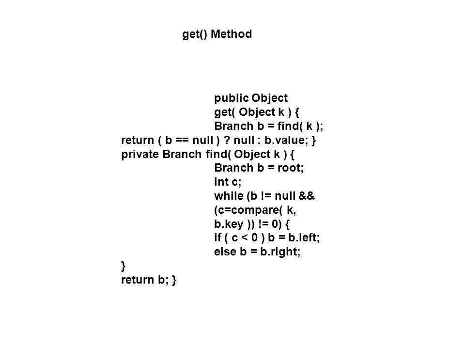 get() Method public Object get( Object k ) { Branch b = find( k ); return ( b == null ) .